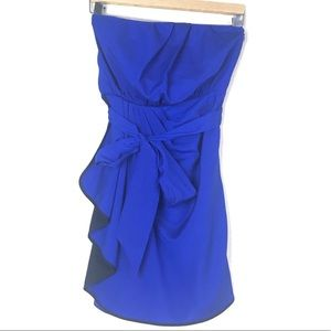 Blue and Black Strapless Dress from Express, SZ 2